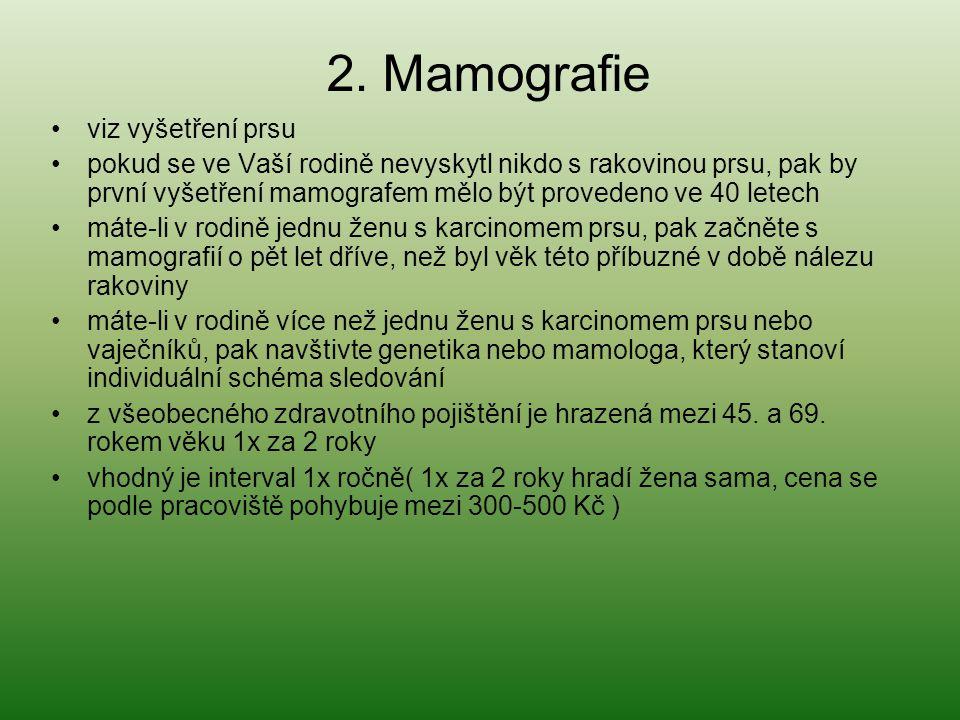 2. Mamografie viz vyšetření prsu
