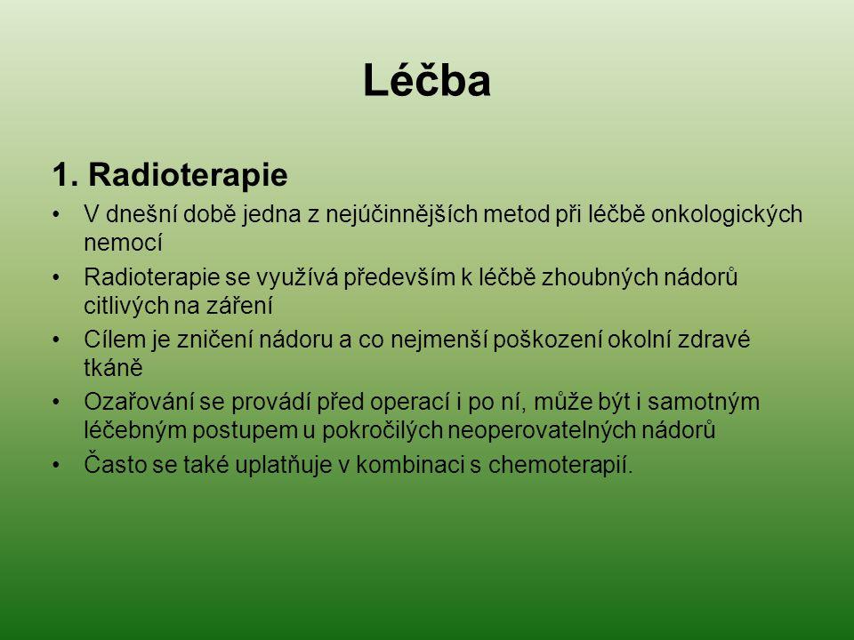Léčba 1. Radioterapie. V dnešní době jedna z nejúčinnějších metod při léčbě onkologických nemocí.