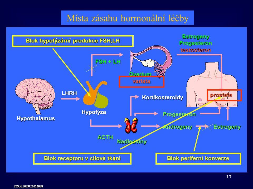 Místa zásahu hormonální léčby