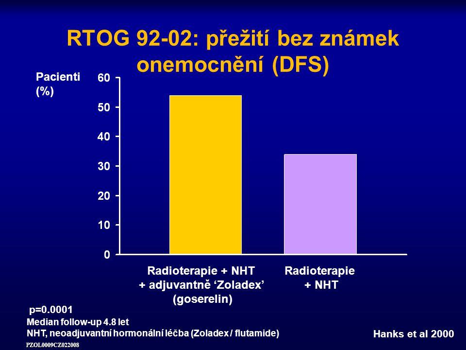RTOG 92-02: přežití bez známek onemocnění (DFS)