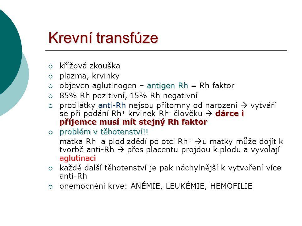 Krevní transfúze křížová zkouška plazma, krvinky