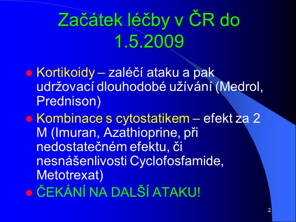 Začátek léčby v ČR do 1.5.2009 Kortikoidy – zaléčí ataku a pak udržovací dlouhodobé užívání (Medrol, Prednison)