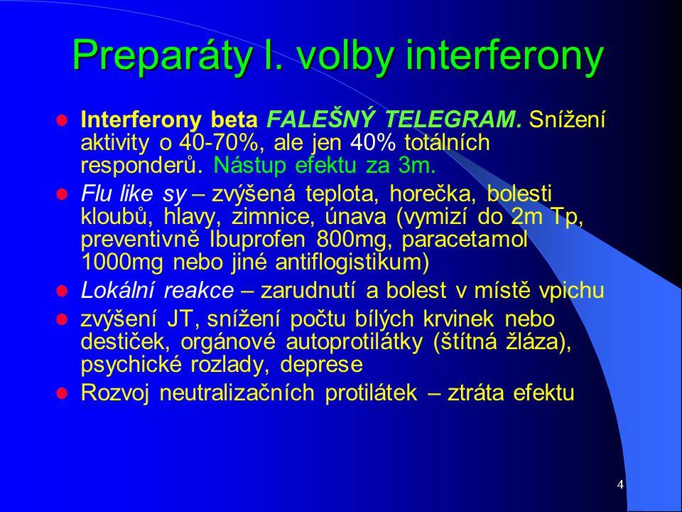 Preparáty l. volby interferony