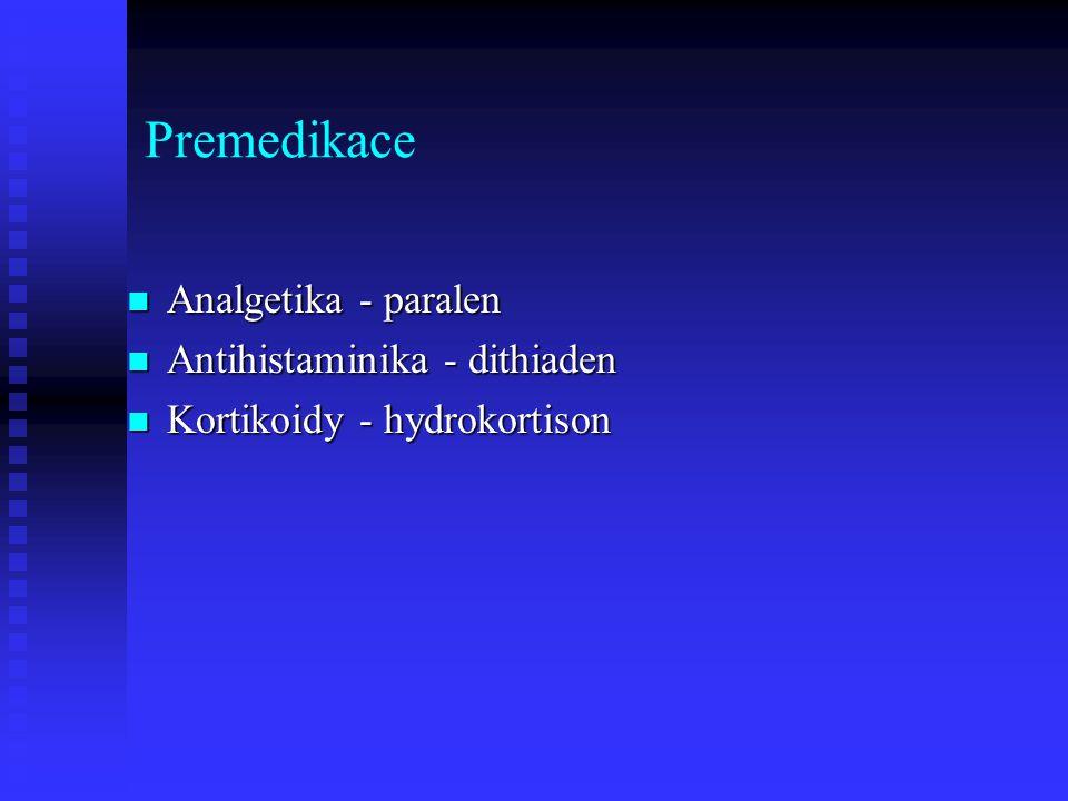 Premedikace Analgetika - paralen Antihistaminika - dithiaden