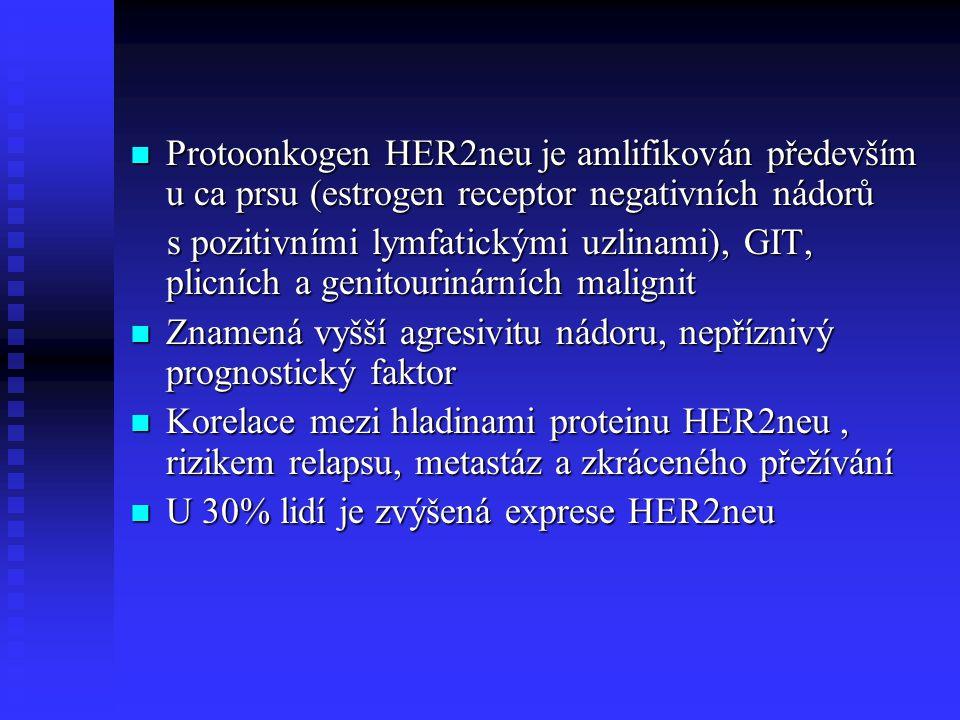Protoonkogen HER2neu je amlifikován především u ca prsu (estrogen receptor negativních nádorů