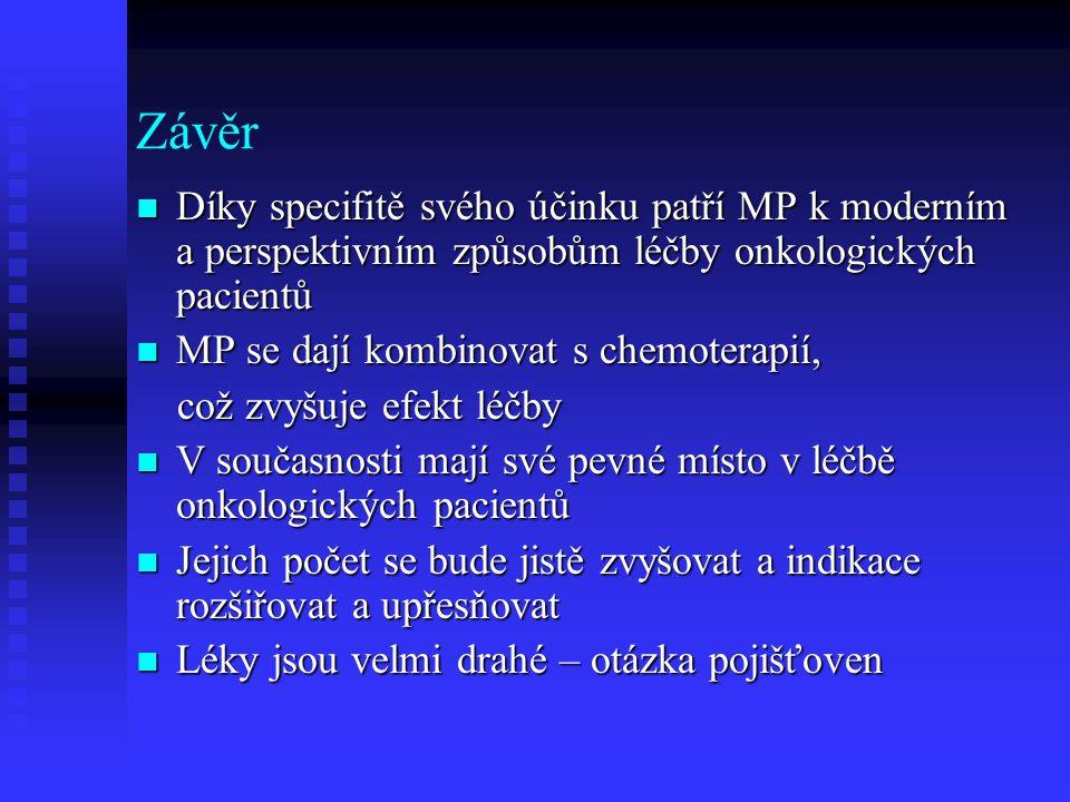 Závěr Díky specifitě svého účinku patří MP k moderním a perspektivním způsobům léčby onkologických pacientů.