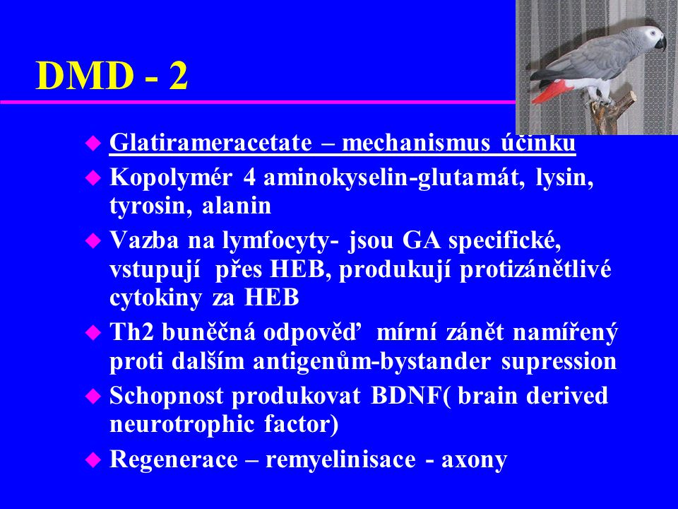 DMD - 2 Glatirameracetate – mechanismus účinku