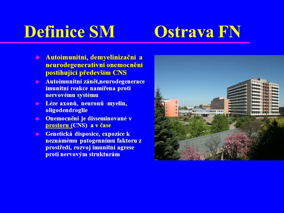 Definice SM Ostrava FN Autoimunitní, demyelinizační a neurodegenerativní onemocnění postihující především CNS.