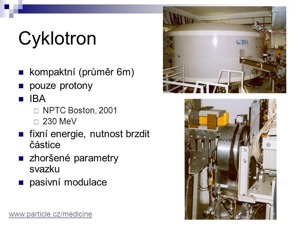 Cyklotron kompaktní (průměr 6m) pouze protony IBA
