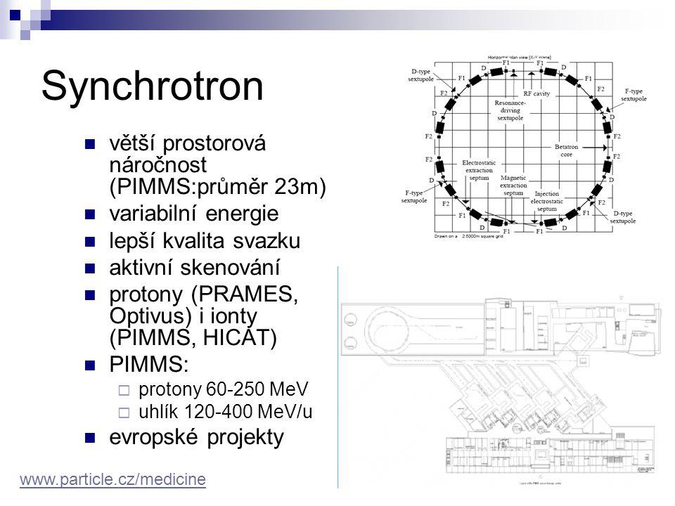 Synchrotron větší prostorová náročnost (PIMMS:průměr 23m)