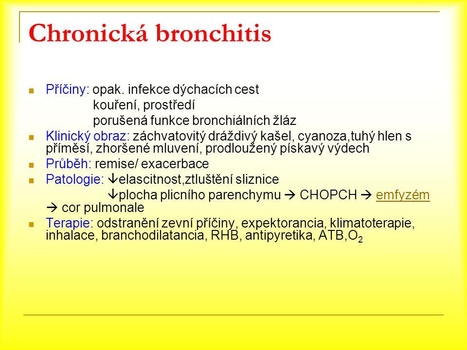 Chronická bronchitis Příčiny: opak. infekce dýchacích cest