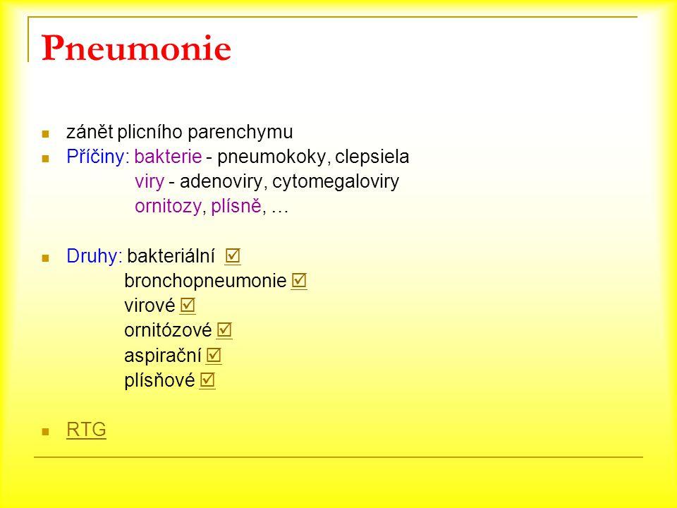 Pneumonie zánět plicního parenchymu