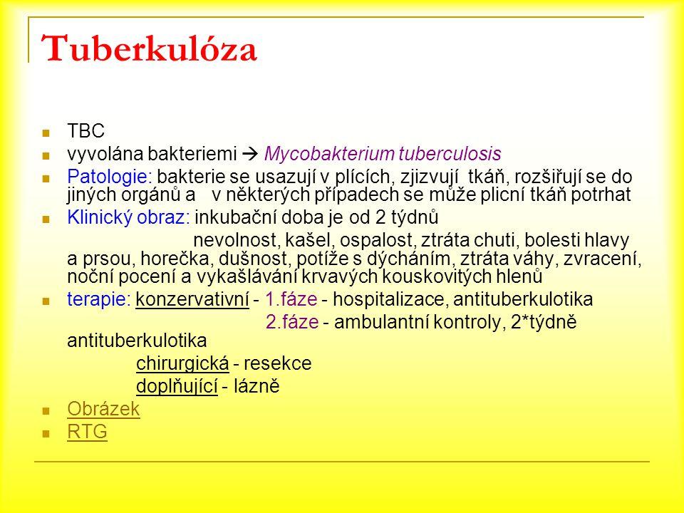 Tuberkulóza TBC vyvolána bakteriemi  Mycobakterium tuberculosis