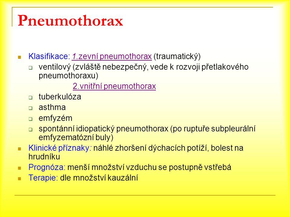 Pneumothorax Klasifikace: 1.zevní pneumothorax (traumatický)