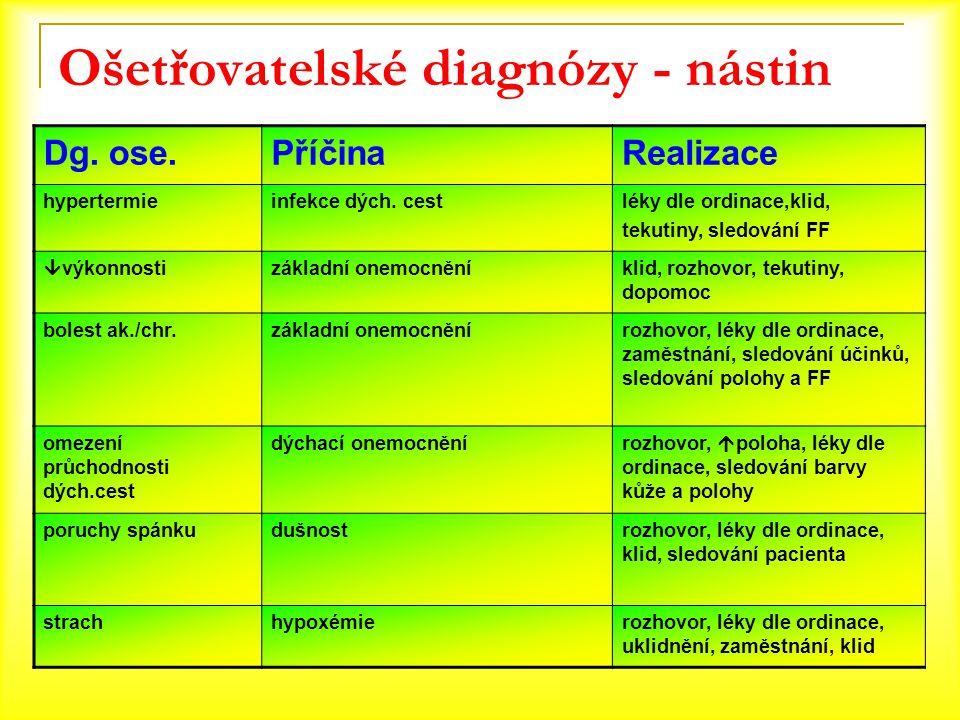Ošetřovatelské diagnózy - nástin
