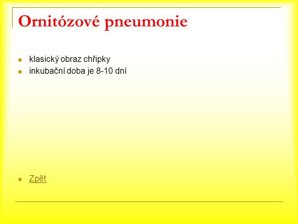 Ornitózové pneumonie klasický obraz chřipky inkubační doba je 8-10 dní