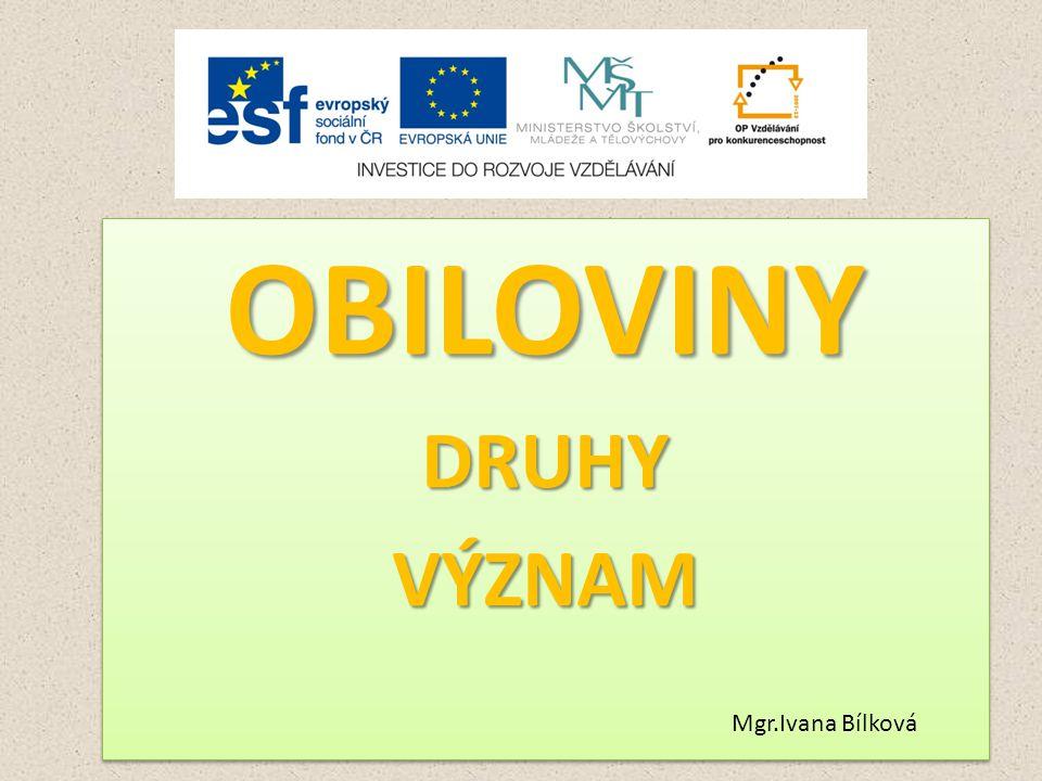OBILOVINY DRUHY VÝZNAM Mgr.Ivana Bílková