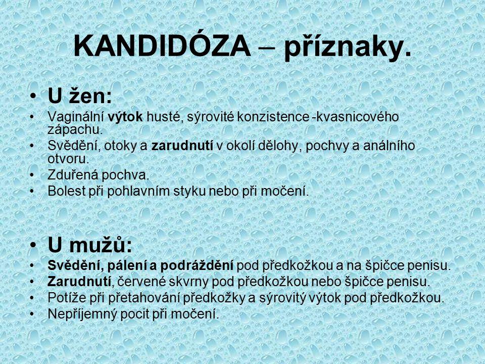 KANDIDÓZA – příznaky. U žen: U mužů: