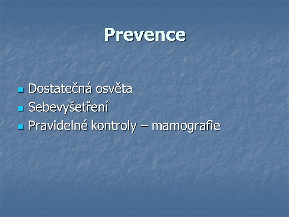 Prevence Dostatečná osvěta Sebevyšetření