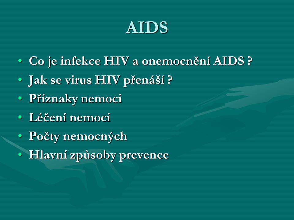 AIDS Co je infekce HIV a onemocnění AIDS Jak se virus HIV přenáší