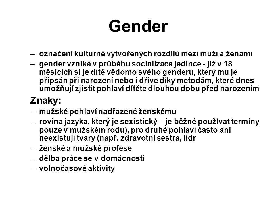 Gender Znaky: označení kulturně vytvořených rozdílů mezi muži a ženami