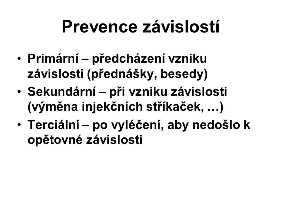 Prevence závislostí Primární – předcházení vzniku závislosti (přednášky, besedy) Sekundární – při vzniku závislosti (výměna injekčních stříkaček, …)
