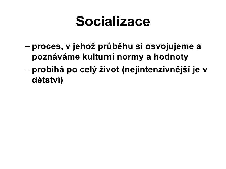 Socializace proces, v jehož průběhu si osvojujeme a poznáváme kulturní normy a hodnoty.