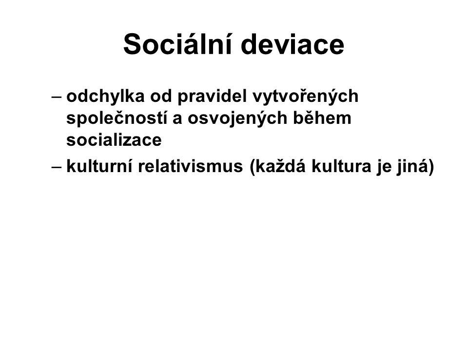 Sociální deviace odchylka od pravidel vytvořených společností a osvojených během socializace.