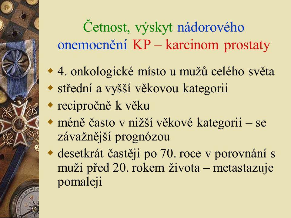 Četnost, výskyt nádorového onemocnění KP – karcinom prostaty