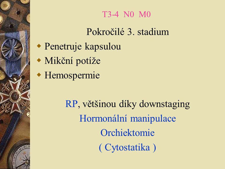 RP, většinou díky downstaging Hormonální manipulace Orchiektomie