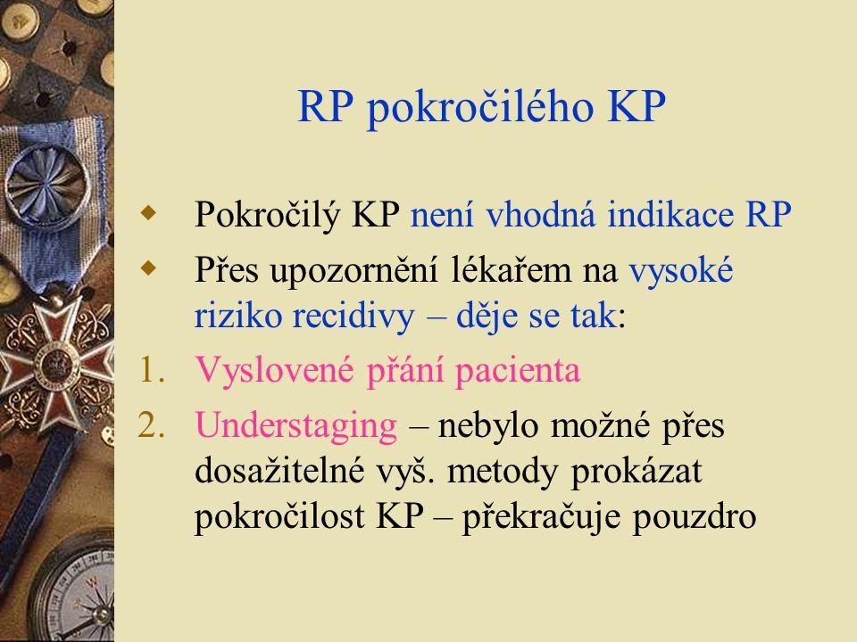 RP pokročilého KP Pokročilý KP není vhodná indikace RP