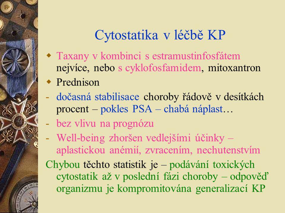 Cytostatika v léčbě KP Taxany v kombinci s estramustinfosfátem nejvíce, nebo s cyklofosfamidem, mitoxantron.