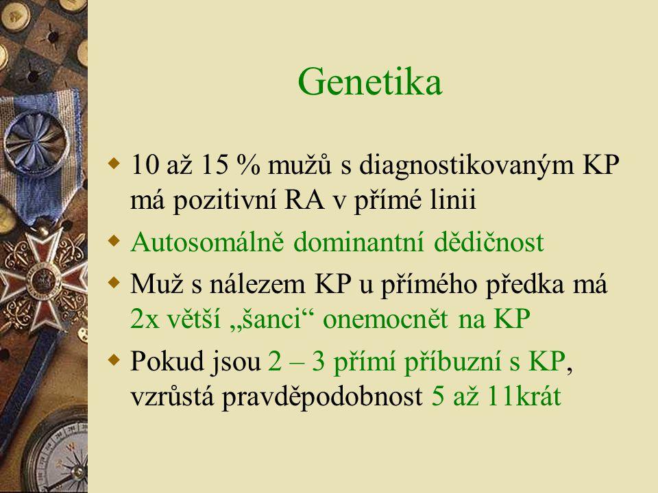Genetika 10 až 15 % mužů s diagnostikovaným KP má pozitivní RA v přímé linii. Autosomálně dominantní dědičnost.