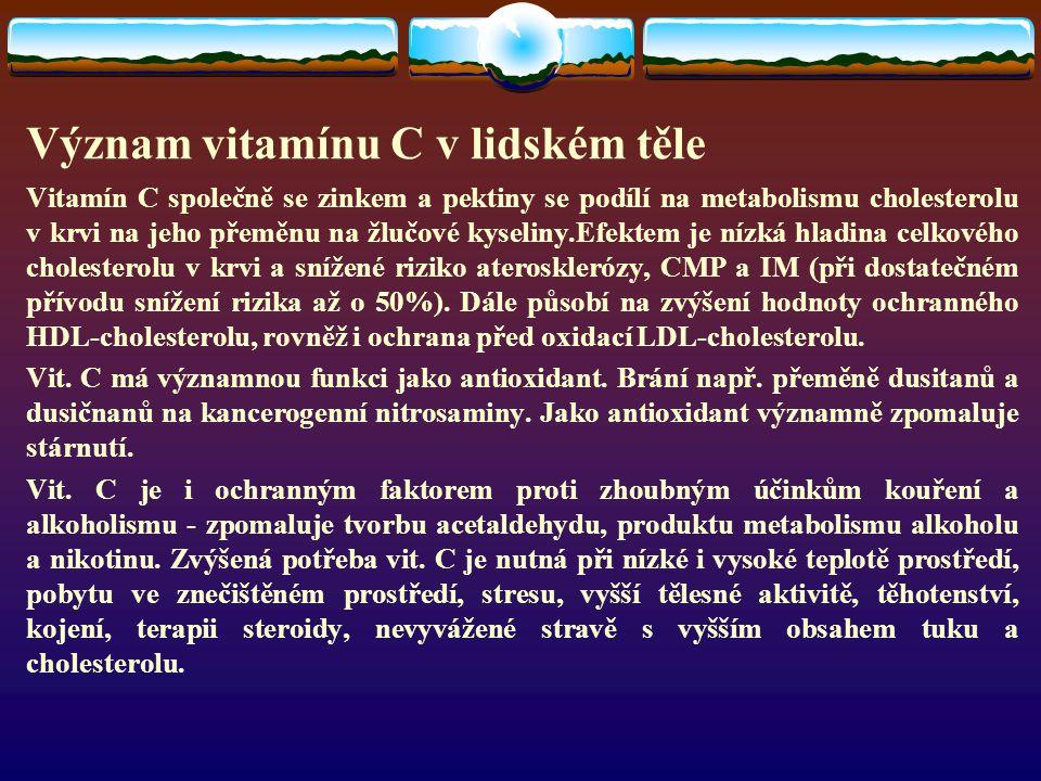 Význam vitamínu C v lidském těle