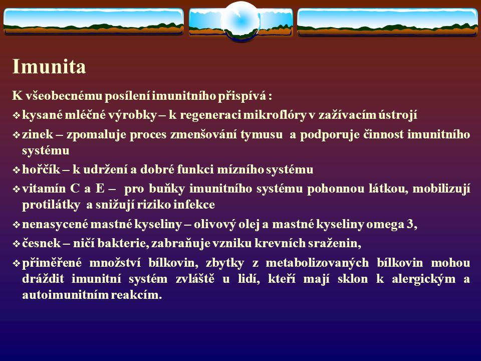 Imunita K všeobecnému posílení imunitního přispívá :