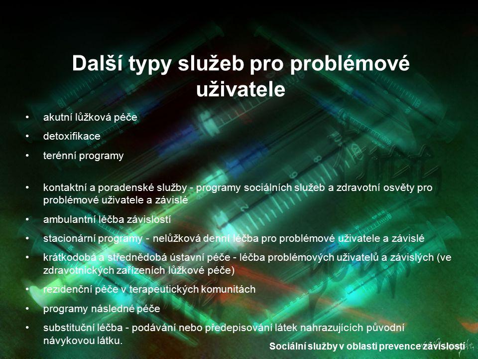 Další typy služeb pro problémové uživatele