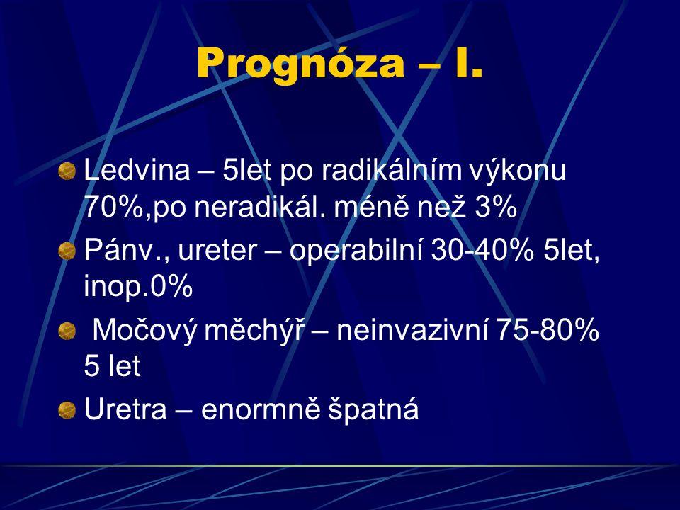 Prognóza – I. Ledvina – 5let po radikálním výkonu 70%,po neradikál. méně než 3% Pánv., ureter – operabilní 30-40% 5let, inop.0%
