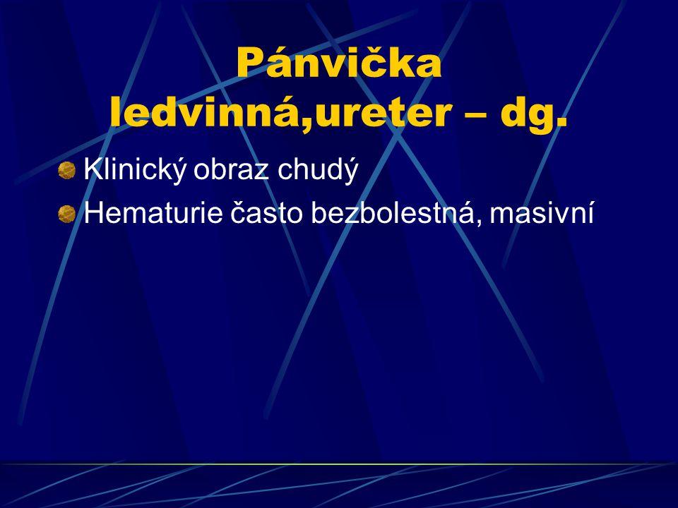 Pánvička ledvinná,ureter – dg.
