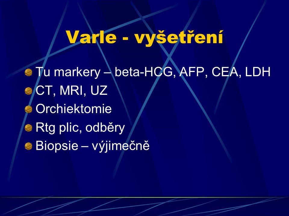 Varle - vyšetření Tu markery – beta-HCG, AFP, CEA, LDH CT, MRI, UZ
