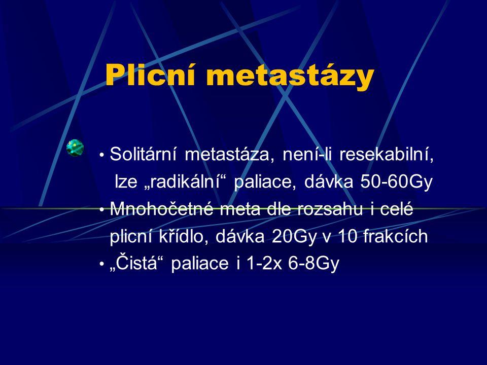 Plicní metastázy Solitární metastáza, není-li resekabilní,