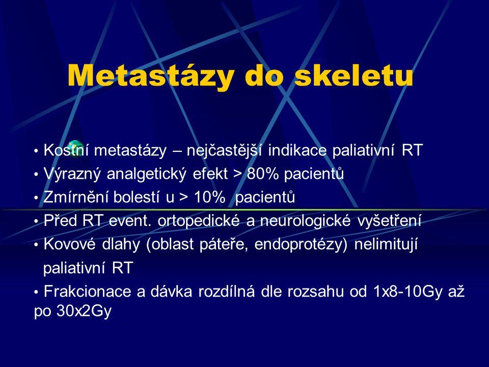 Metastázy do skeletu Kostní metastázy – nejčastější indikace paliativní RT. Výrazný analgetický efekt > 80% pacientů.