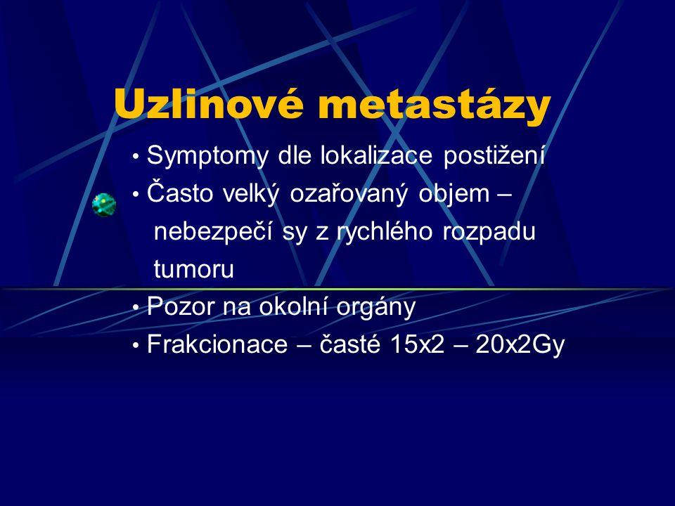 Uzlinové metastázy Symptomy dle lokalizace postižení