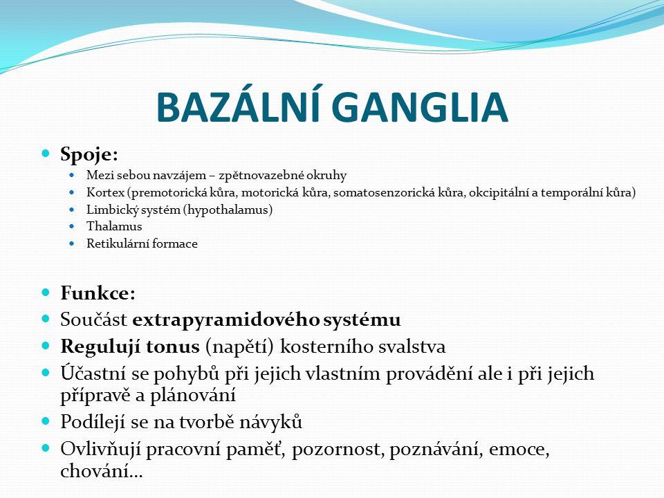 BAZÁLNÍ GANGLIA Spoje: Funkce: Součást extrapyramidového systému
