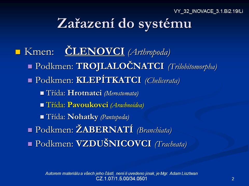 Zařazení do systému Kmen: ČLENOVCI (Arthropoda)
