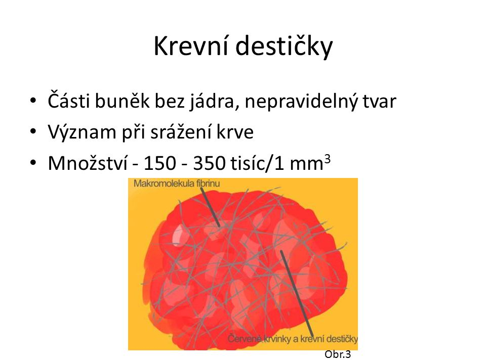 Krevní destičky Části buněk bez jádra, nepravidelný tvar