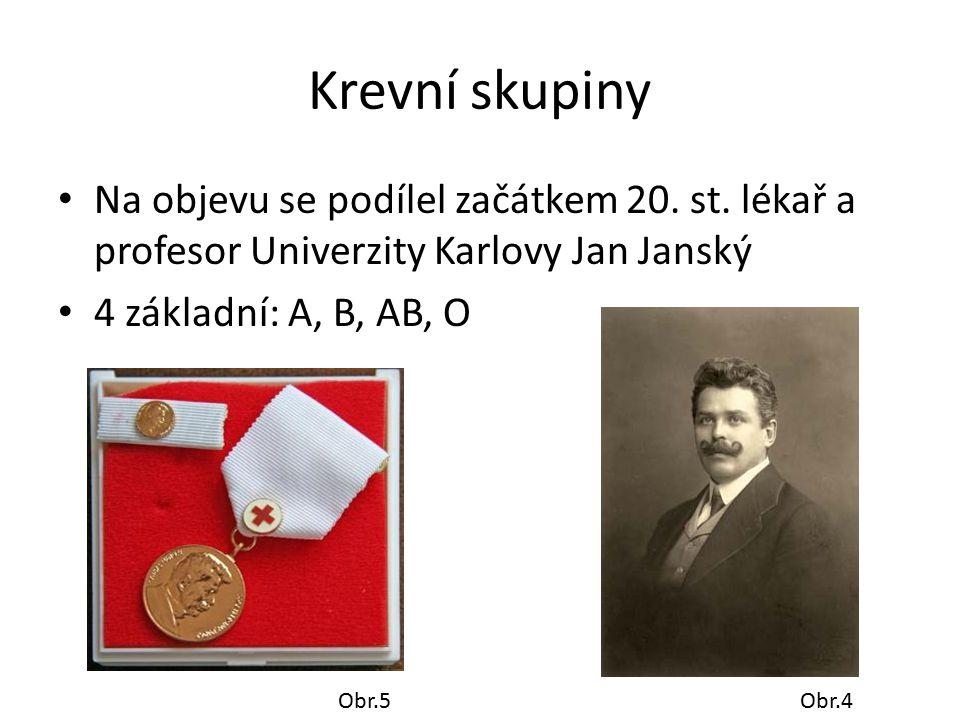 Krevní skupiny Na objevu se podílel začátkem 20. st. lékař a profesor Univerzity Karlovy Jan Janský.