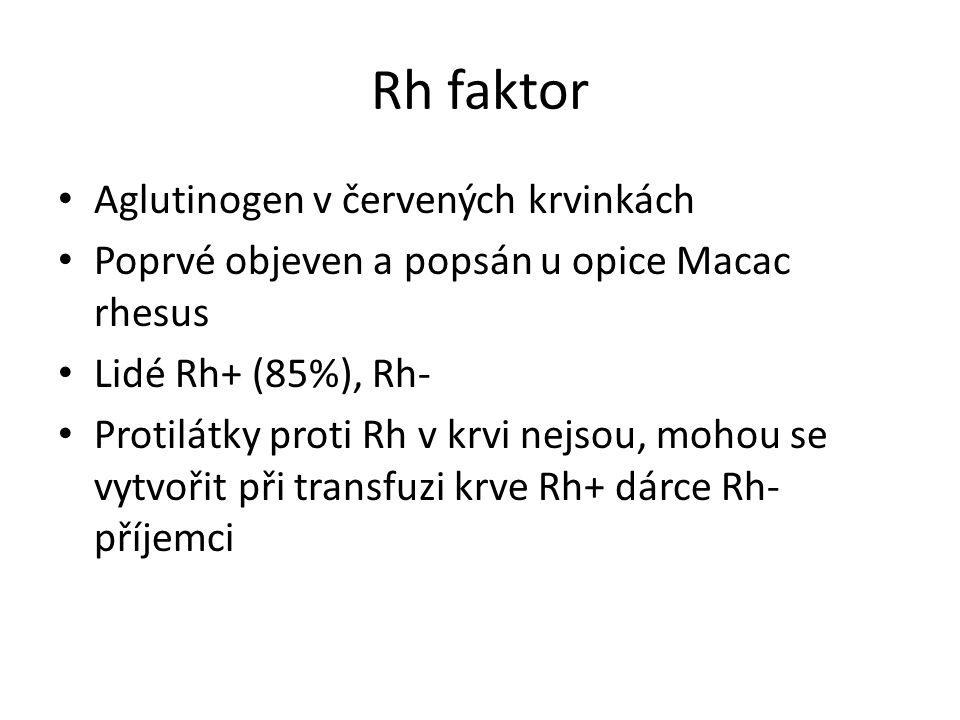 Rh faktor Aglutinogen v červených krvinkách