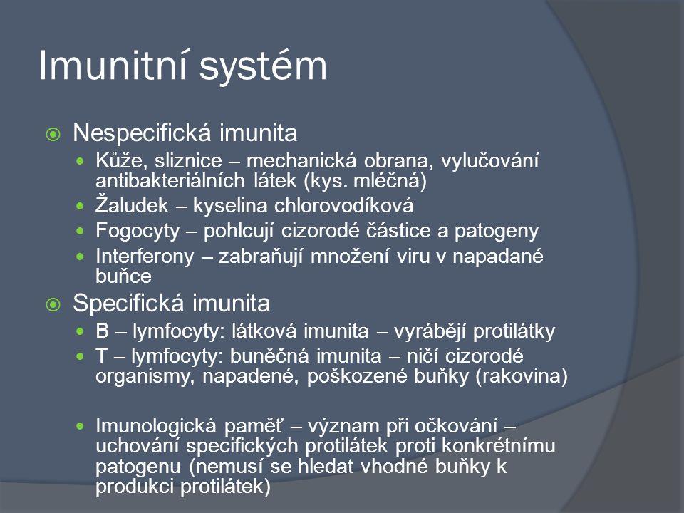 Imunitní systém Nespecifická imunita Specifická imunita