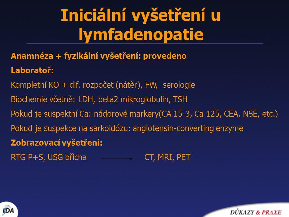 Iniciální vyšetření u lymfadenopatie
