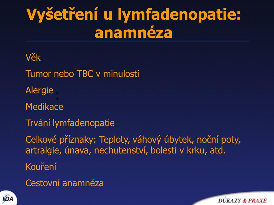 Vyšetření u lymfadenopatie: anamnéza